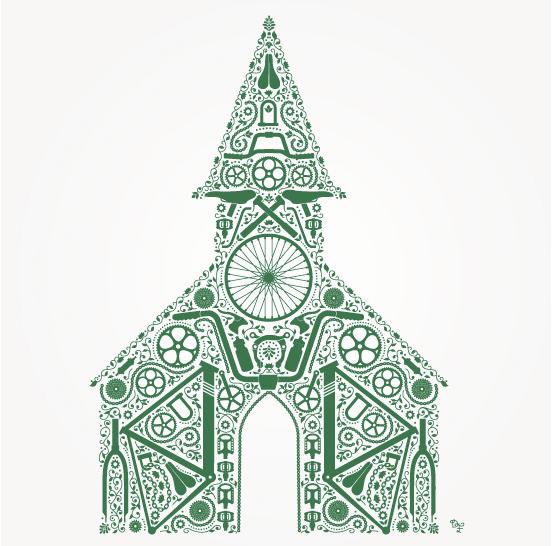 Dan Funderburgh Cycle Church Illustration